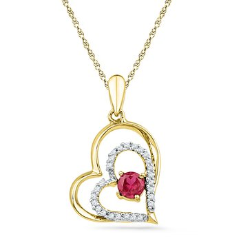 10kt Yellow Gold Womens Round Lab-Created Ruby Heart Love Pendant 1/2 Cttw