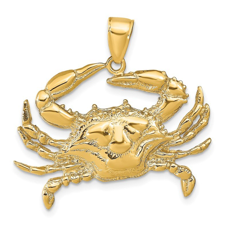 Quality Gold 14K Blue Crab Pendant