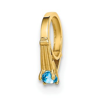 14K 3D Ring with Aqua CZ Charm