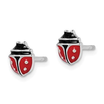 Sterling Silver Rhodium-plated Childs Enameled Ladybug Post Earrings