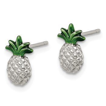 Sterling Silver Pineapple with Green Enamel Post Earrings