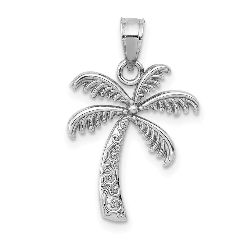 Quality Gold 14k White Gold Polished Palm Tree Pendant