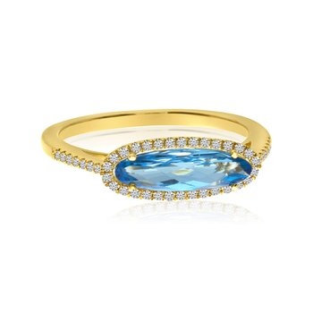 14K Yellow Gold Elongated Oval Blue Topaz and Diamond Ring