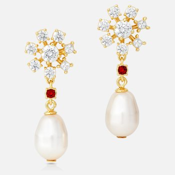 Penélope Cruz Icons of Film Pearl Pierced Earrings, Red, Gold-tone plated