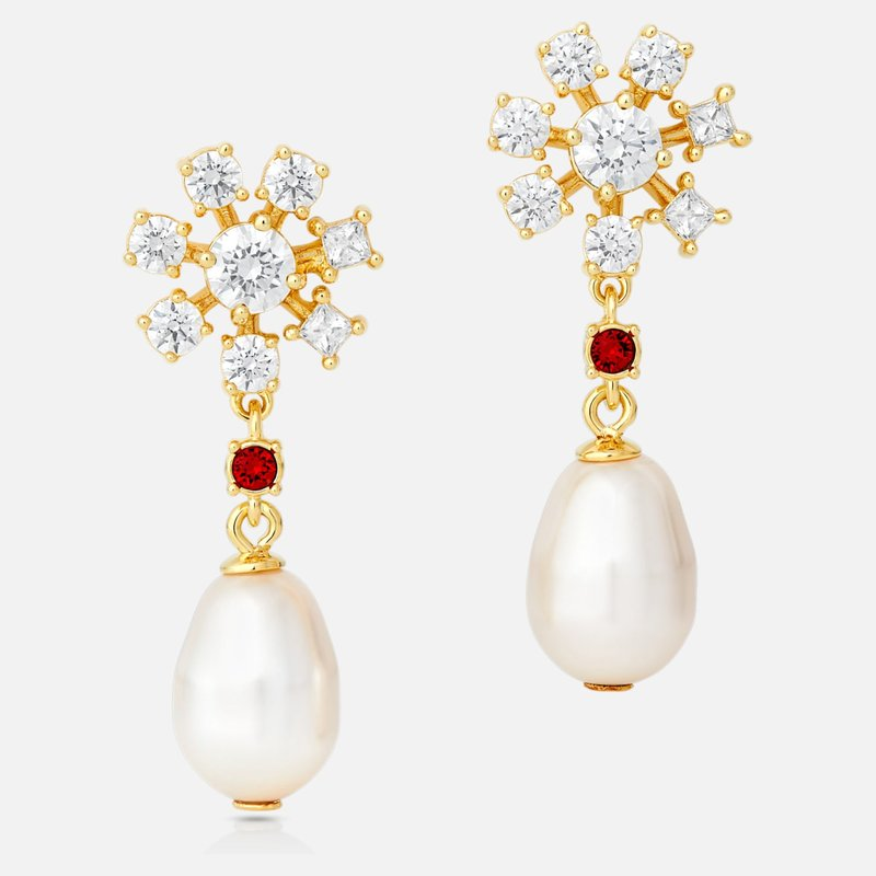 Swarovski Penélope Cruz Icons of Film Pearl Pierced Earrings, Red, Gold-tone plated