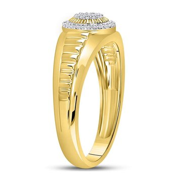 10kt Yellow Gold Womens Round Diamond Circle Cluster Ribbed Ring 1/8 Cttw