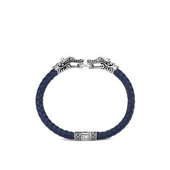 Legends Naga Station Bracelet in Silver with Leather