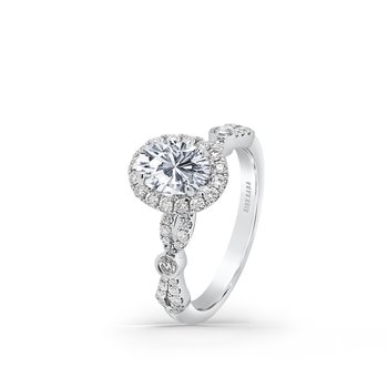 Refined Deco Halo Diamond Engagement Ring