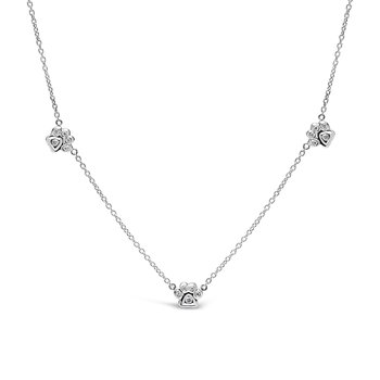 Trio of Paws Diamond Necklace