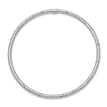 14k White Gold Polished Diamond-cut Slip-on Bangle