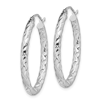 Sterling Silver RH-plated D/C Textured 3mm Oval Hoop Earrings