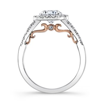"Uneek ""Cancelli"" Round Diamond Halo Engagement Ring with Pave Split Shank in 14K White Gold, and Under-the-Head Filigree in 14K Rose Gold"