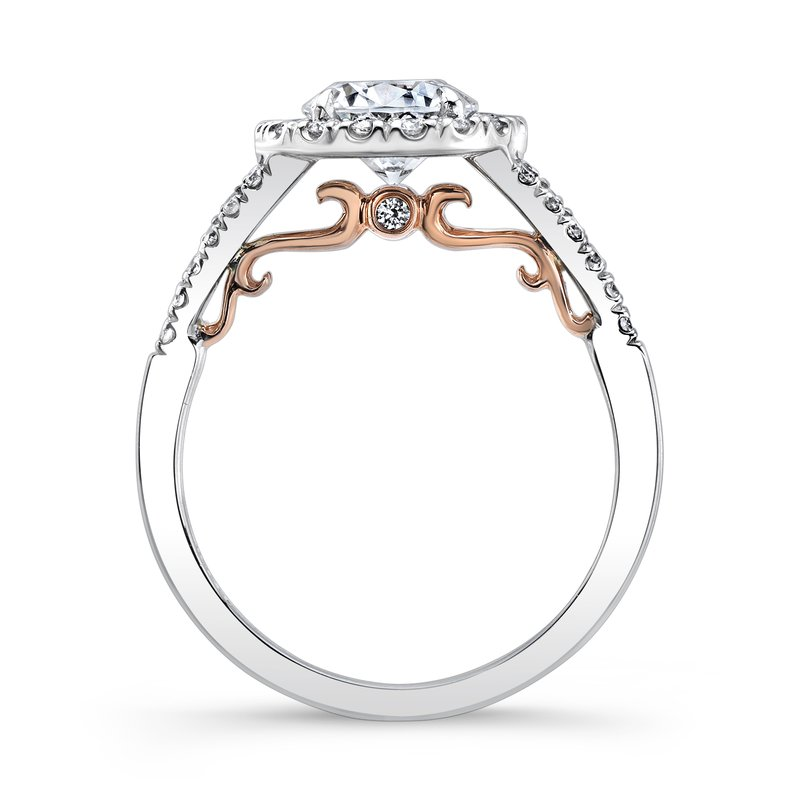 "Uneek Fine Jewelry Uneek ""Cancelli"" Round Diamond Halo Engagement Ring with Pave Split Shank in 14K White Gold, and Under-the-Head Filigree in 14K Rose Gold"