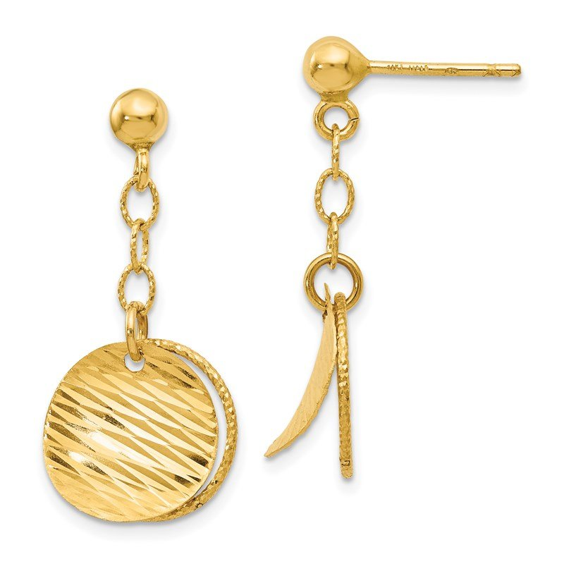 Leslie's Leslie's 14K Polished and D/C Post Dangle Earrings