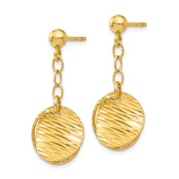 Leslie's 14K Polished and D/C Post Dangle Earrings