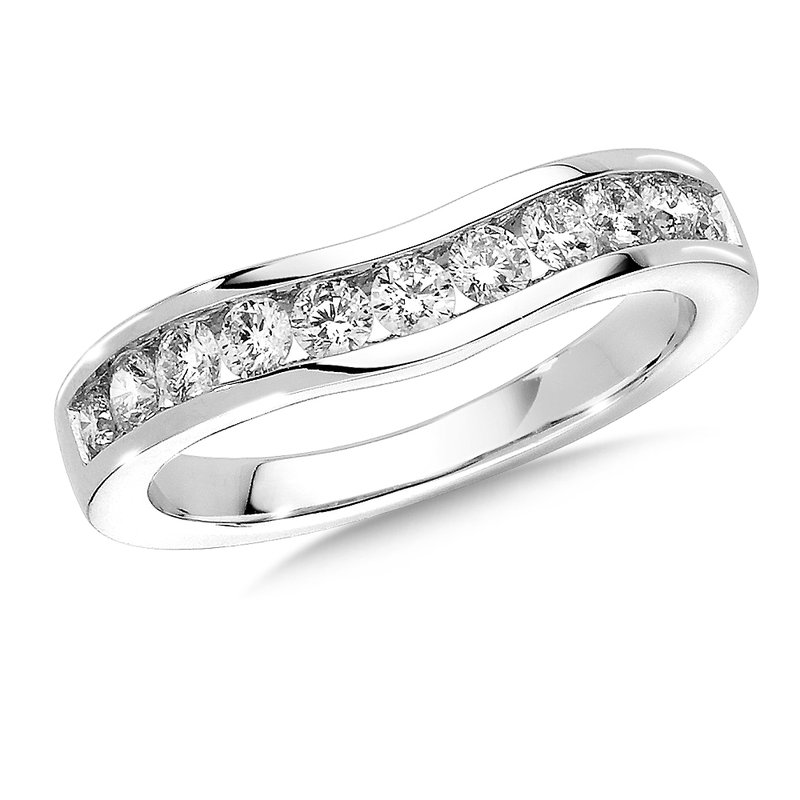 SDC Creations Channel set Curved Diamond Wedding Band 14k White Gold (1/5ct. tw.)