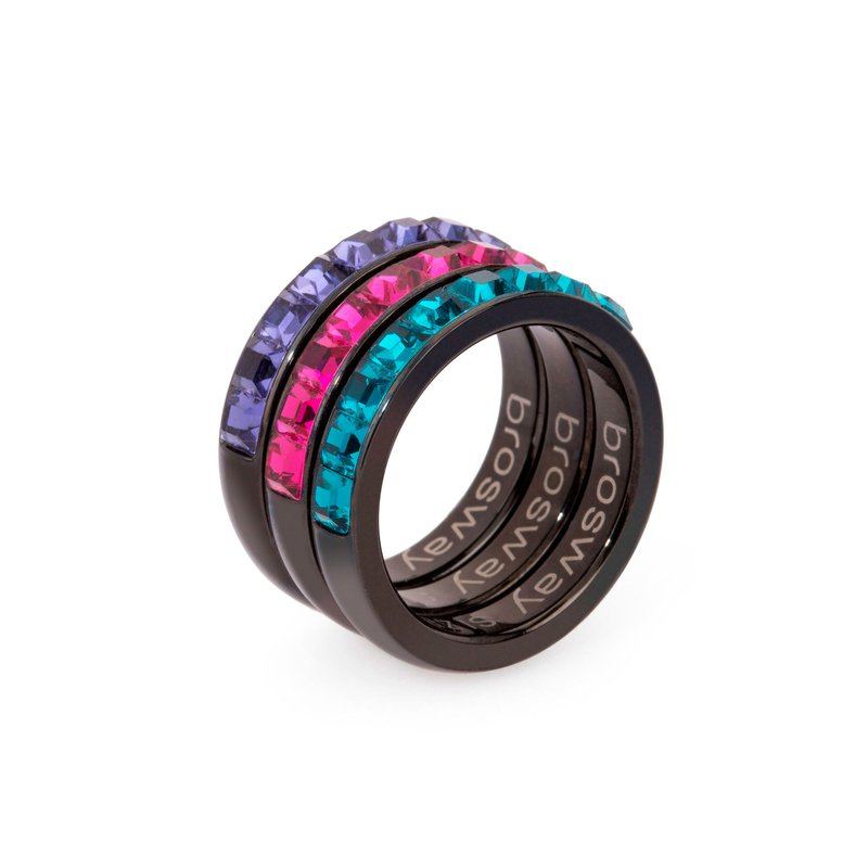 Brosway 316L stainless steel, black pvd, tanzanite, fuchsia and indicolite Swarovski® Elements