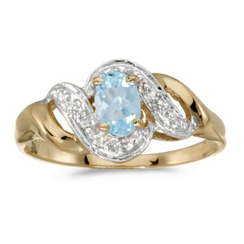 14k Yellow Gold Oval Aquamarine And Diamond Swirl Ring