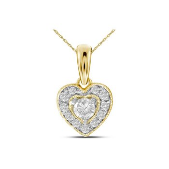 14kt Yellow Gold Womens Round Diamond Solitaire Heart Pendant 1/4 Cttw