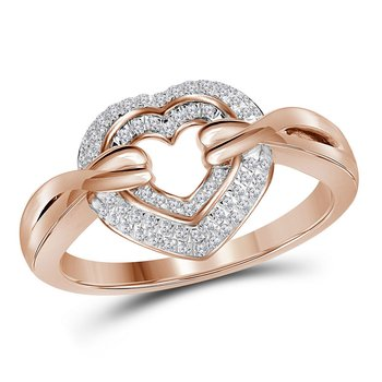 10kt Rose Gold Womens Round Diamond Heart Love Ring 1/5 Cttw