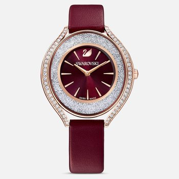 Crystalline Aura Watch, Leather strap, Red, Rose-gold tone PVD