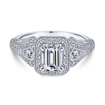 Vintage 14K White Gold Halo Emerald Cut Diamond Engagement Ring