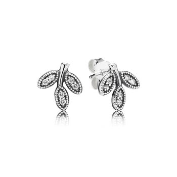 Sparkling Leaves Stud Earrings, Clear CZ
