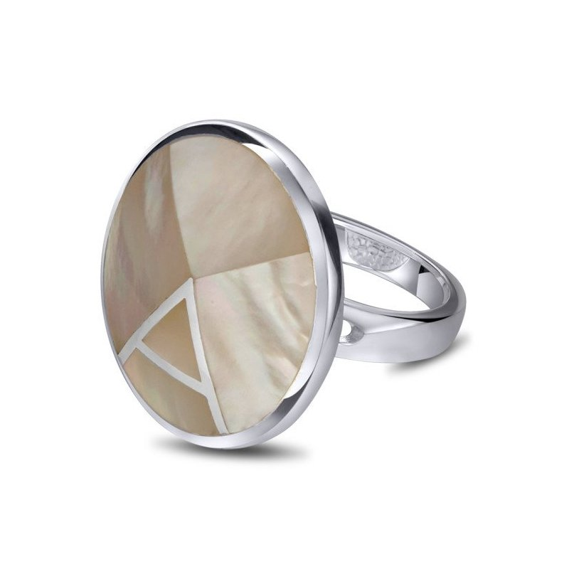 LARUS Jewelry Round Mother of Pearl Ring