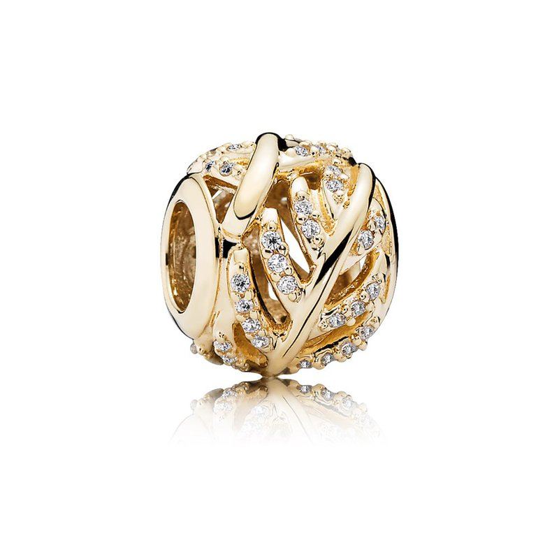 fefe893a3 Lawrence Jewelers: PANDORA Light As A Feather, Clear CZ & 14K Gold