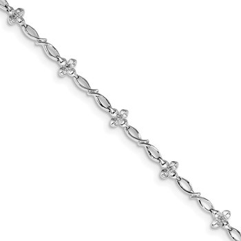 Sterling Silver Rhodium-plated Diam. Bracelet
