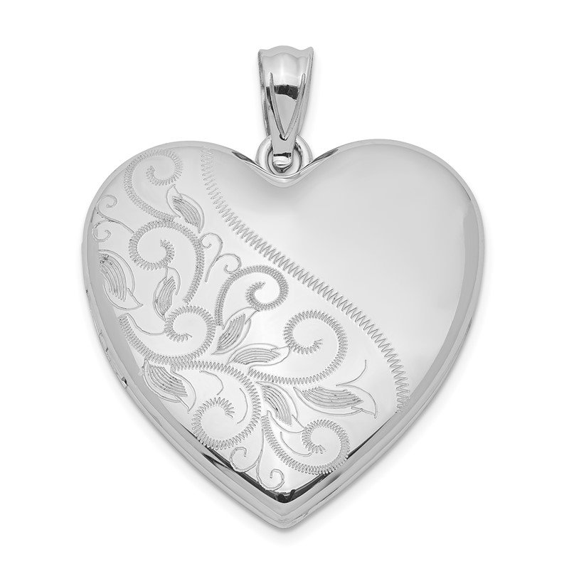 Quality Gold Sterling Silver Rhodium-plated 24mm Scrolled Heart Family Locket