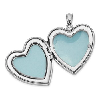 Sterling Silver Rhodium-plated 24mm Scrolled Heart Family Locket
