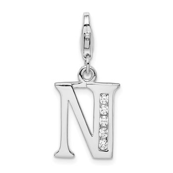 Sterling Silver RH CZ Letter N w/Lobster Clasp Charm