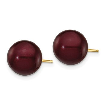 14k 9-10mm Coffee Round Freshwater Cultured Pearl Stud Post Earrings