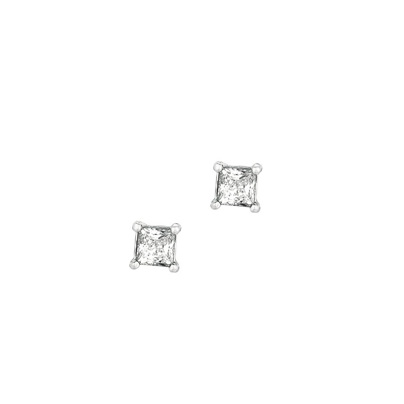 Royal Chain Silver 4MM Princess CZ Earring