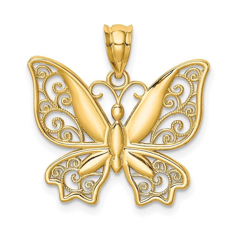 Quality Gold 14K Polished Butterfly Pendant