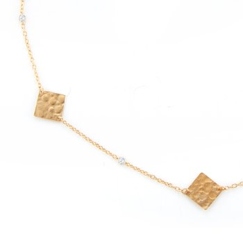 14KY SQARE GOLD-BY-THE-YARD NECKLACE .08CT