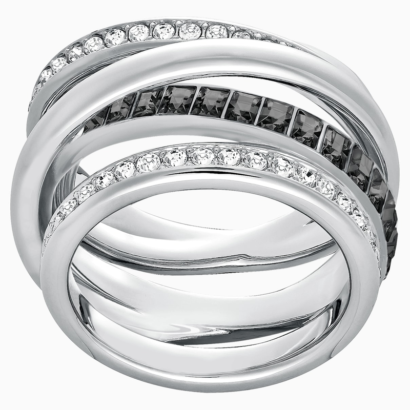 Swarovski Dynamic Ring, Gray, Rhodium plated