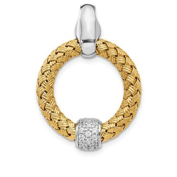 Leslie's Sterling Silver Gold-Tone CZ Polished Woven Pendant