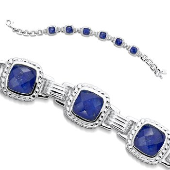 Sterling Silver Lapis and White Quartz Fusion Bracelet