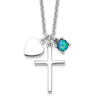 Sterling Silver Rhodium-plated Created Blue Opal Cross Necklace