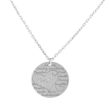Silver Mom Disc Necklace