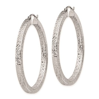 Sterling Silver RH-plated D/C 3x40mm Square Tube Hoop Earrings
