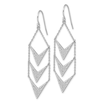 Sterling Silver Rhodium-plated CZ Fancy Dangle Shepherd Hook Earrings