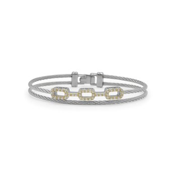 Grey Cable Petite Layered Links Bracelet with 18kt Yellow Gold & Diamonds