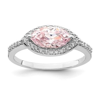 Sterling Silver Rhodium-plated 10x5 Pink Marquise CZ Ring