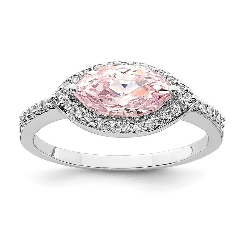Quality Gold Sterling Silver Rhodium-plated 10x5 Pink Marquise CZ Ring