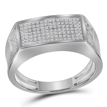10kt White Gold Mens Round Diamond Rectangle Cluster Band Ring 1/3 Cttw