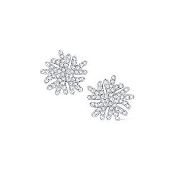 Diamond Snowflake Stud Earrings Set in 14 Kt. Gold