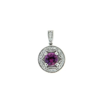 18k White Gold Pendant with Sapphire Pink & Diamond